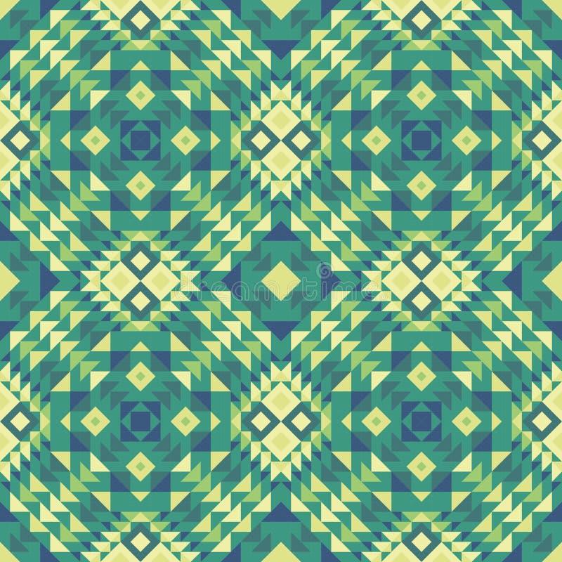 Bezszwowy wzór styl etniczna tkanina w zielonych kolorach ilustracja wektor