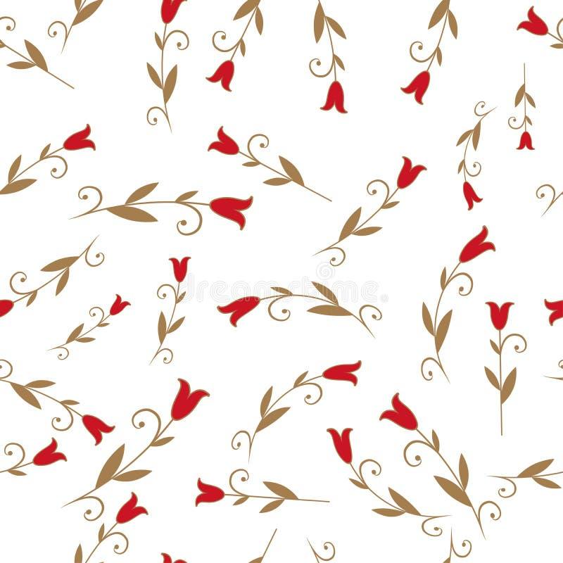 Bezszwowy wzór stylizowane leluje lub tulipany na złocistym tle ilustracji