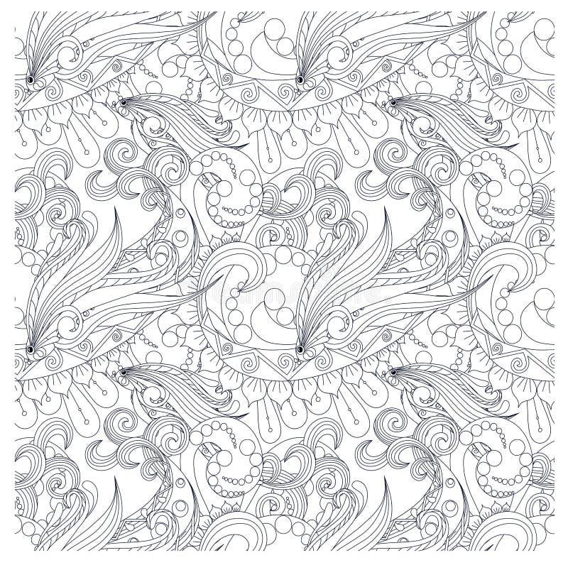 Bezszwowy wzór stylizujący monochromów fishs, fala ilustracji