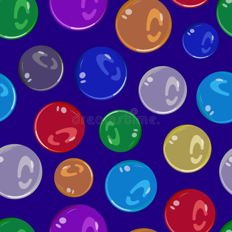 Bezszwowy wzór szklane piłki różni kolory ilustracja wektor