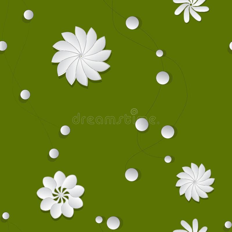 Bezszwowy wzór szklani papierowi kwiaty na zielonym tle ilustracji