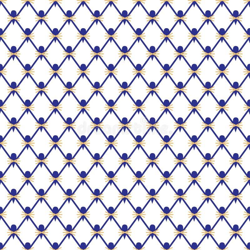 Bezszwowy wzór, tło, kobalt siatka wzór dla Chiny ilustracja wektor