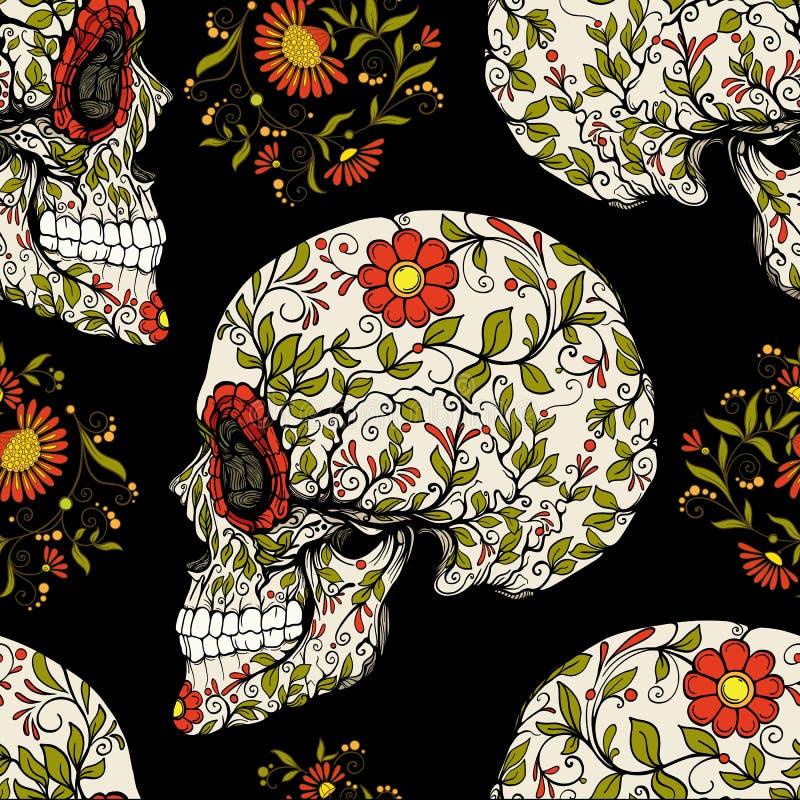 Bezszwowy wzór, tło z cukrową czaszką i kwiecisty, tupoczemy ilustracja wektor