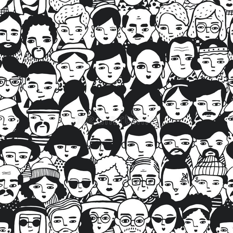 Bezszwowy wzór tłumu różne ludzi, kobiety i mężczyzna twarze, Doodle portretów modne dziewczyny i faceci modny royalty ilustracja