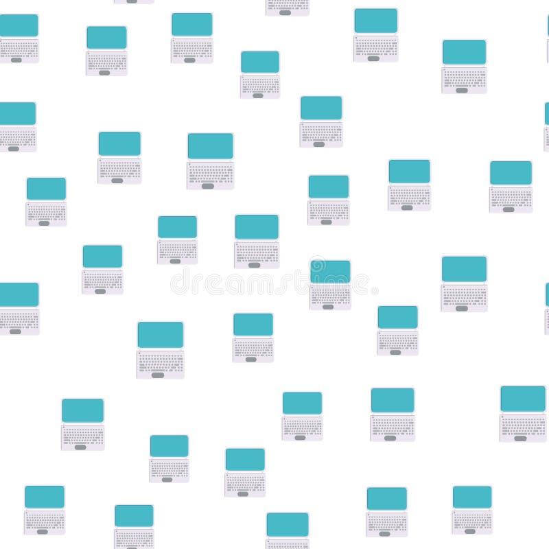Bezszwowy wzór, tekstura nowożytni potężni cyfrowego komputeru mobilni laptopy z klawiaturą, technologia odizolowywająca na bielu ilustracja wektor