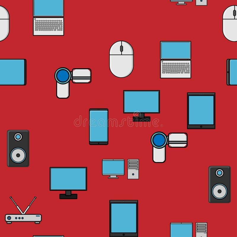 Bezszwowy wzór, tekstura od nowożytnych cyfrowych przyrządów, gadżety, pastylki, smartphones, myszy, mówcy, monitory, laptopy, ro royalty ilustracja