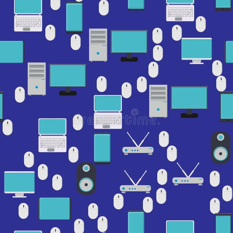Bezszwowy wzór, tekstura od nowożytnych cyfrowych przyrządów, gadżety, pastylki, smartphones, myszy, mówcy, monitory, laptopy, ro ilustracja wektor