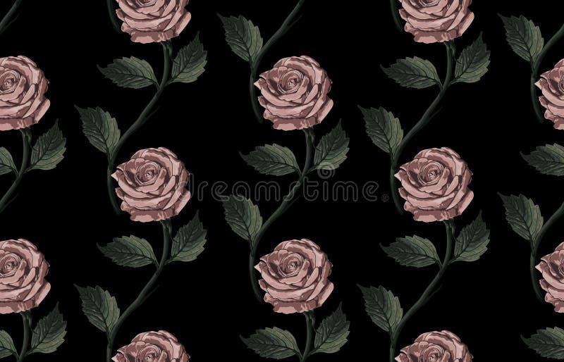 Bezszwowy wzór tonujący elegancki rumieniec kwitnie na czarnym tle royalty ilustracja