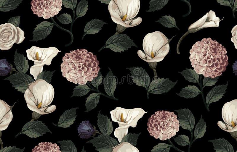 Bezszwowy wzór tonujący elegancki rumieniec kwitnie na czarnym tle ilustracji