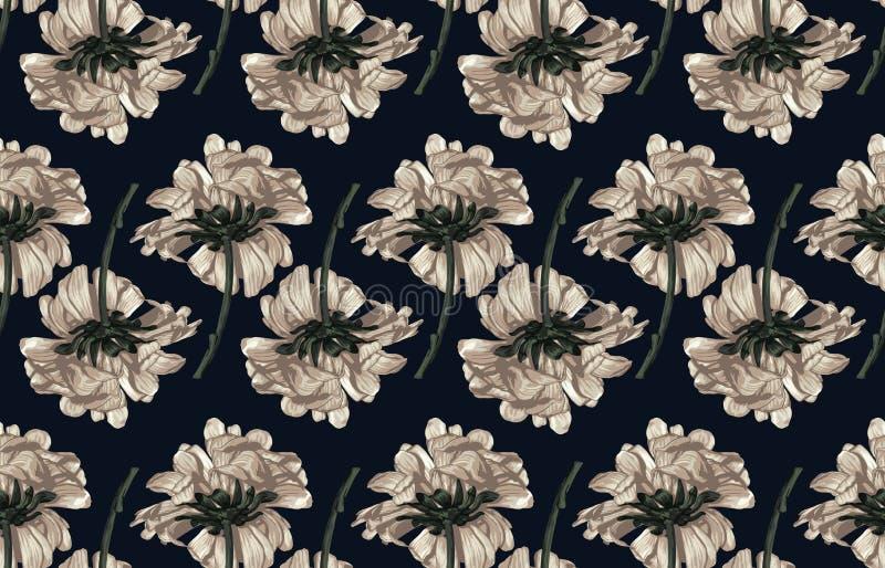 Bezszwowy wzór tonujący elegancki rumieniec kwitnie na czarnym tle ilustracja wektor