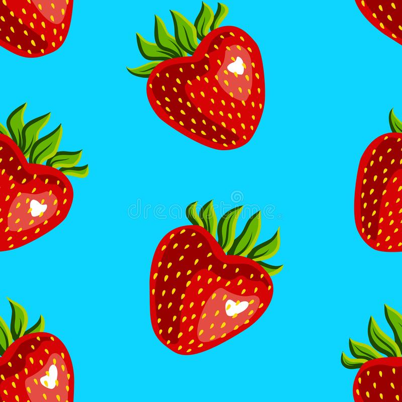 Bezszwowy wzór truskawki na błękitnym tle ilustracji