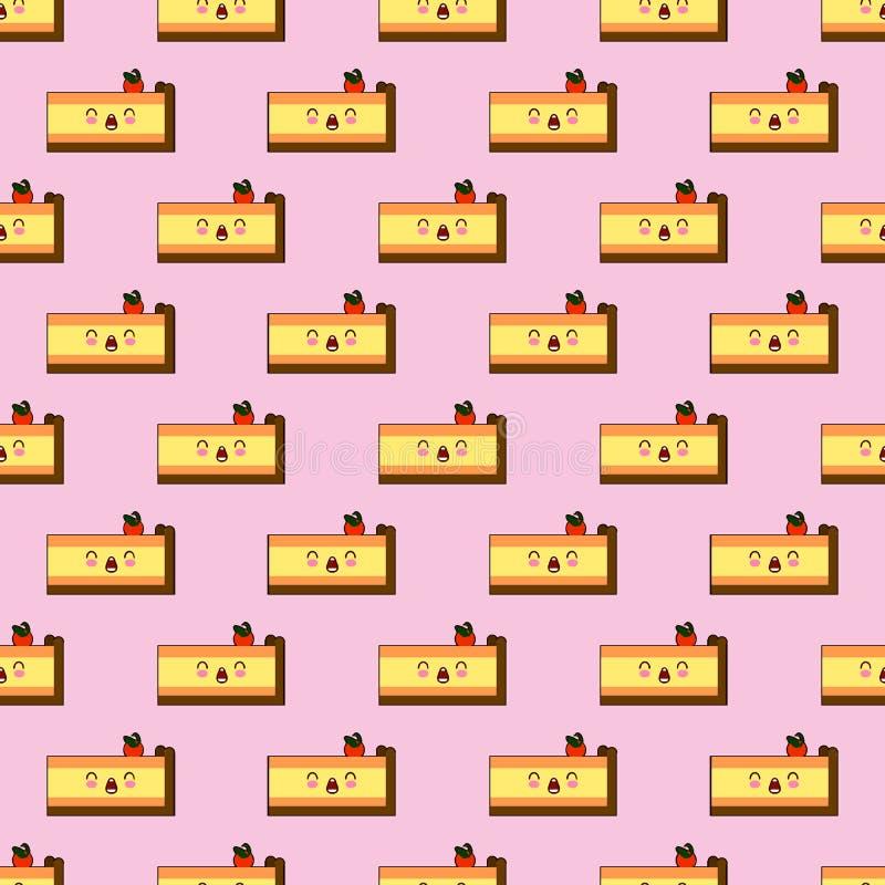 Bezszwowy wzór uśmiechnięty kawaii stylu tort z różnymi wyrazami twarzy na różowej tło wektoru ilustraci ilustracji