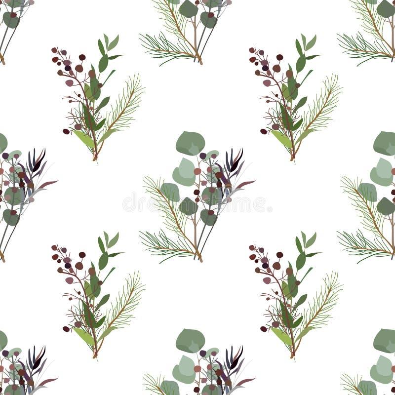 Bezszwowy wzór ulistnienie naturalne gałąź, zieleni liście, ziele ilustracja wektor