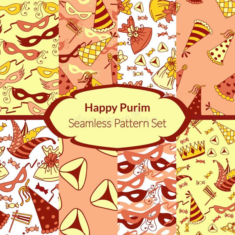 Bezszwowy wzór ustawiający dla Żydowskiego wakacyjnego Purim ilustracja wektor