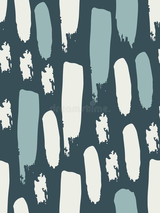 Bezszwowy wzór w błękitnych i bielu kolorach Kolorowi punkty i lampasy abstrakcyjny tło Atrament i muśnięcie ręka patroszona royalty ilustracja