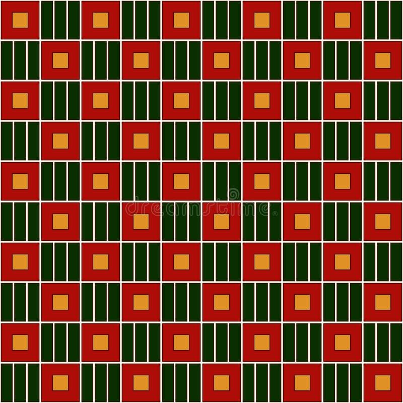 Bezszwowy wzór w Bożenarodzeniowych tradycyjnych kolorach z prostym geometrycznym ornamentem Częstotliwa kwadrata łańcuchu tapeta ilustracja wektor