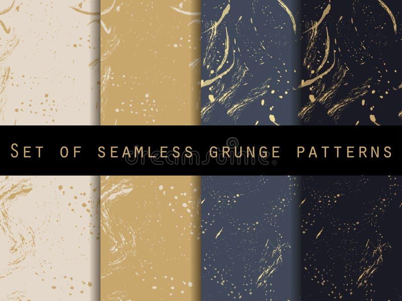 Bezszwowy wzór w grunge stylu złoci pluśnięcia ilustracja wektor