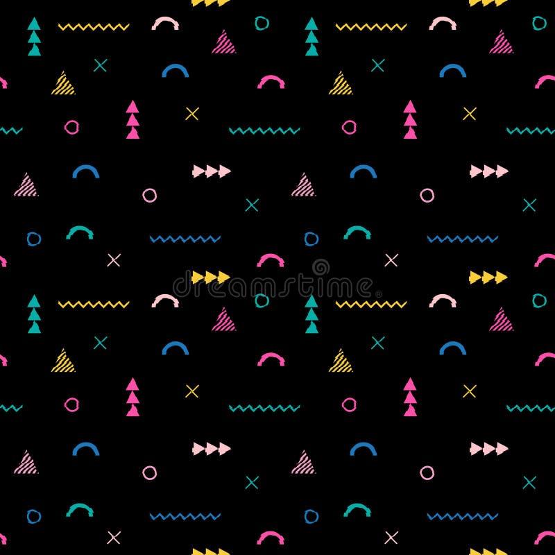Bezszwowy wzór w Memphis stylu Komputerowy usterki tło ilustracji