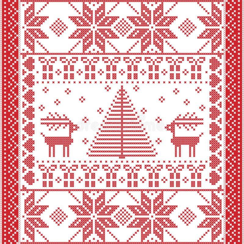Bezszwowy wzór w przecinającym ściegu z choinką, płatkami śniegu, prezentami, reniferem, sercami i ornamentami, ilustracji