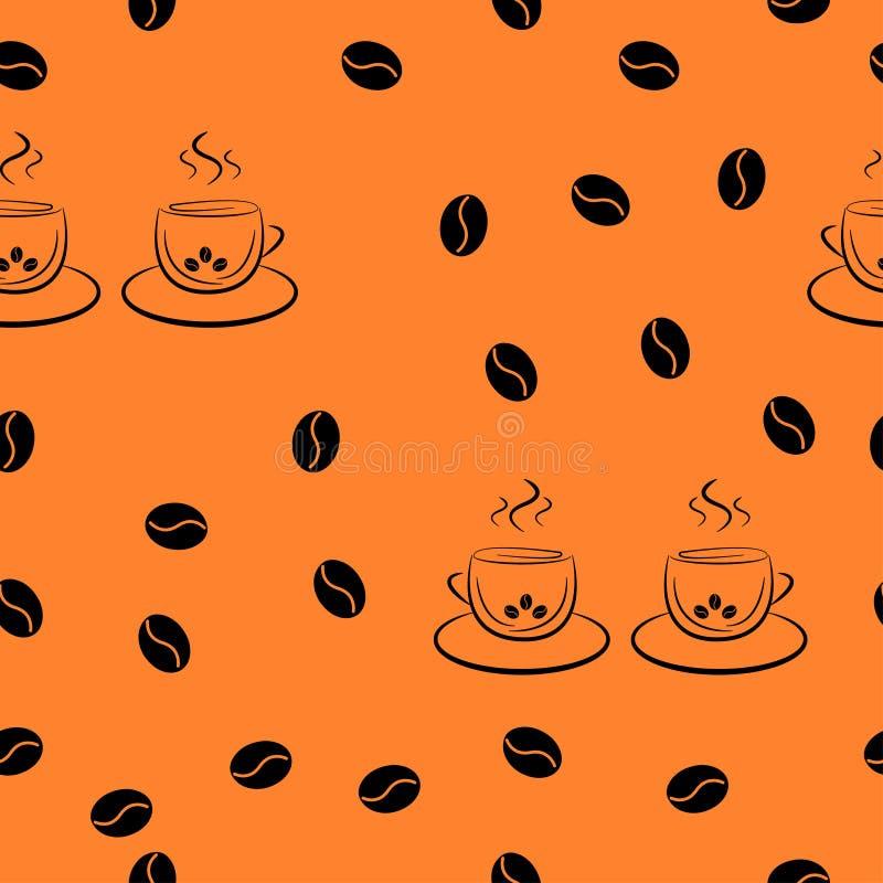 Bezszwowy wzór w przypadkowym rozkazie od pary filiżanki kawy i kawowe fasole ilustracji