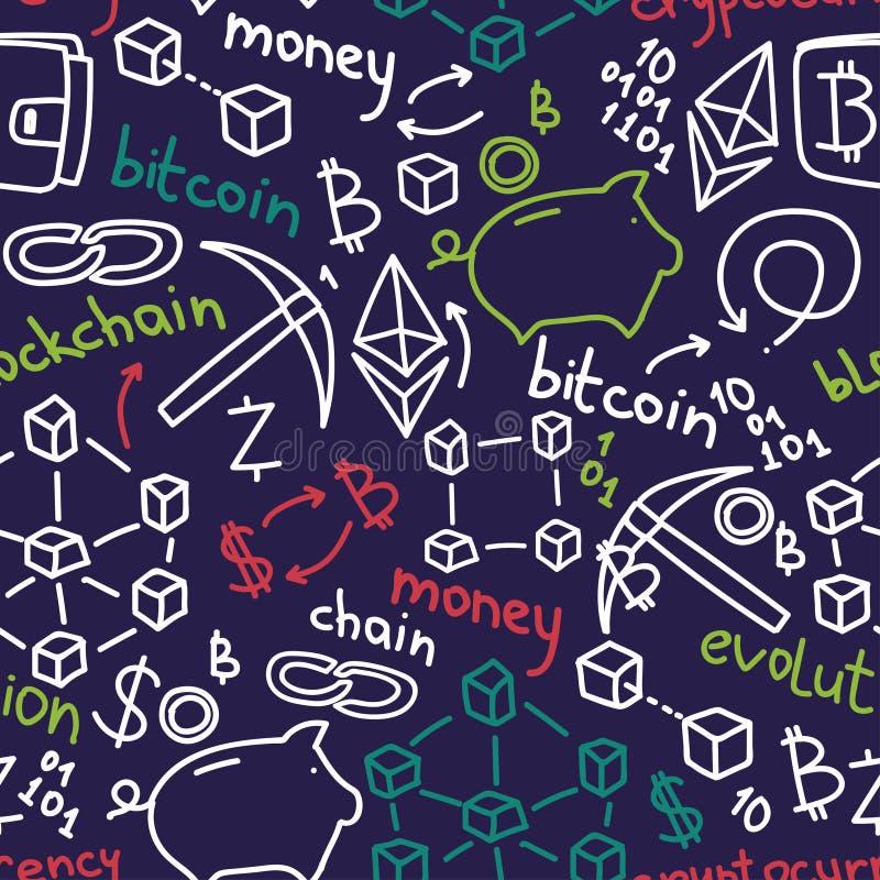 Bezszwowy wzór w ręka rysującym stylu dla cryptocurrency ilustracji
