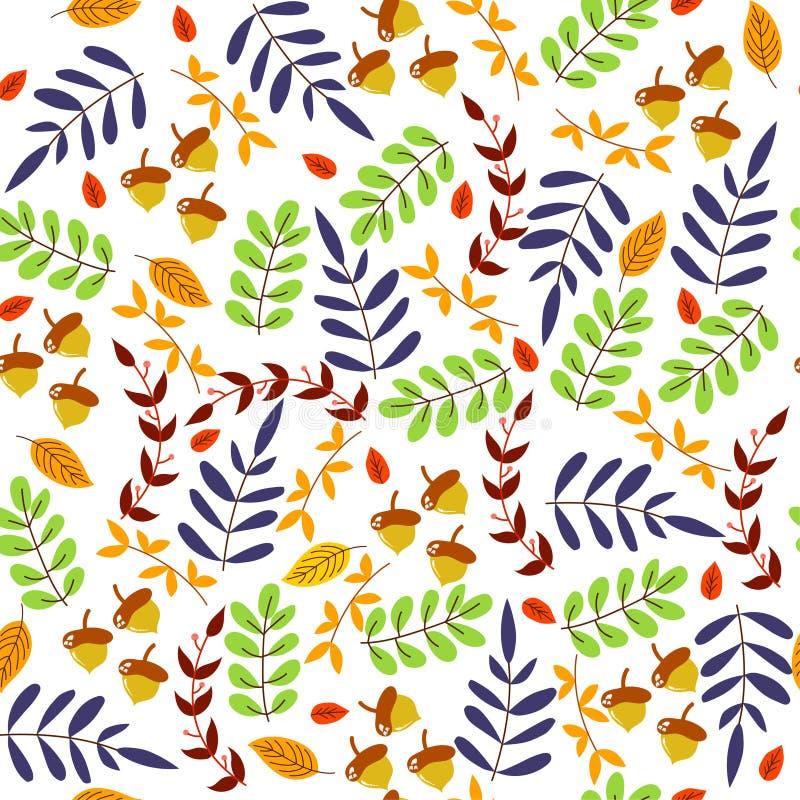 Bezszwowy wzór wiele kolorów liście i dąb, natury tapeta zdjęcie stock