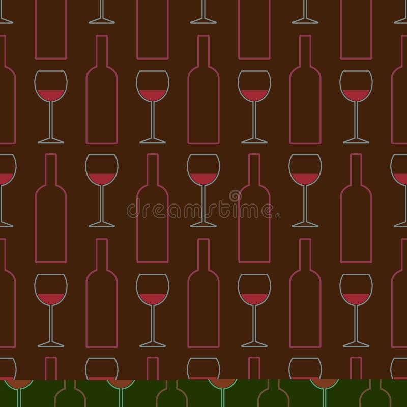 Bezszwowy wzór win szkła, butelki wino Winiarstwo _ sommelier ilustracja wektor