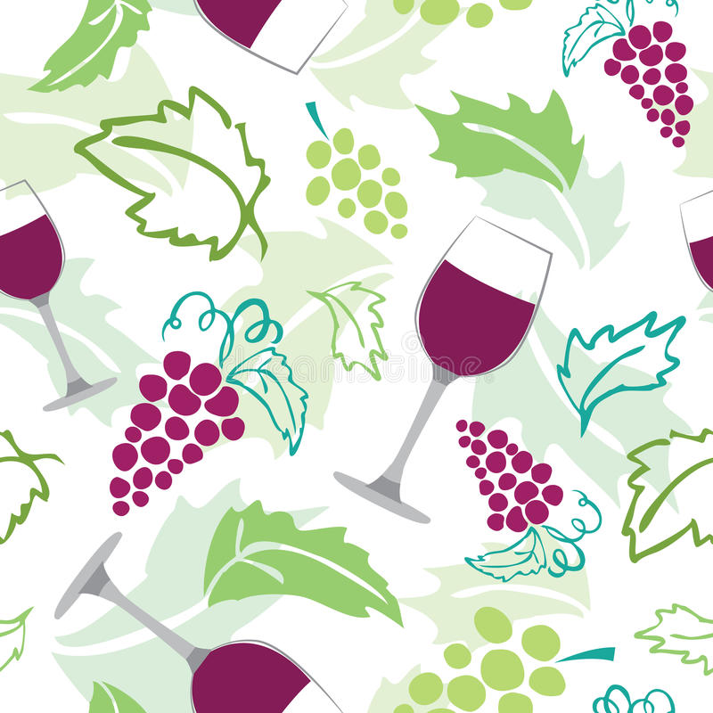 Bezszwowy wzór - wina szkło, winogrona obraz stock