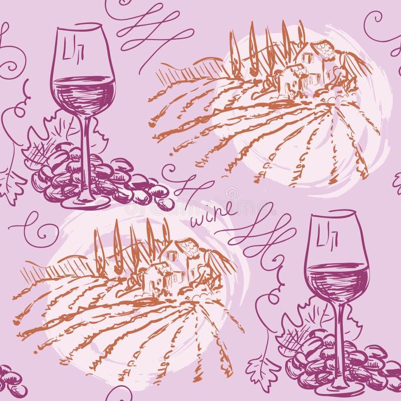 Bezszwowy wzór - wino i winemaking ilustracji