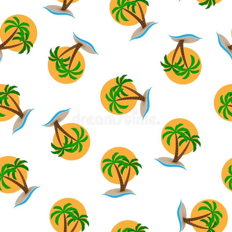 Bezszwowy wzór, wyspa z drzewkami palmowymi w morzu w słońca tle royalty ilustracja