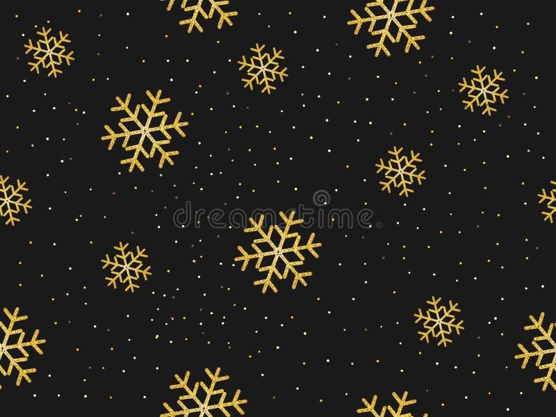 Bezszwowy wzór złociści płatek śniegu ilustracji