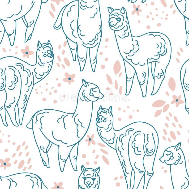 Bezszwowy wzór z śliczną doodle alpagą, kwiatami i royalty ilustracja
