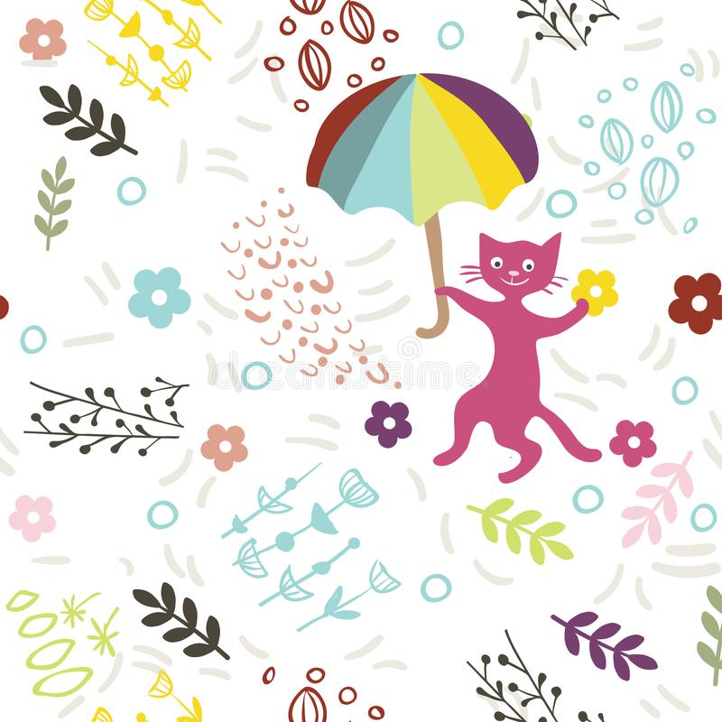 Bezszwowy wzór z śliczną kiciunią, parasolem i kwiatami na białym tle, Druk dla tkaniny, tapeta, kartka z pozdrowieniami ilustracji
