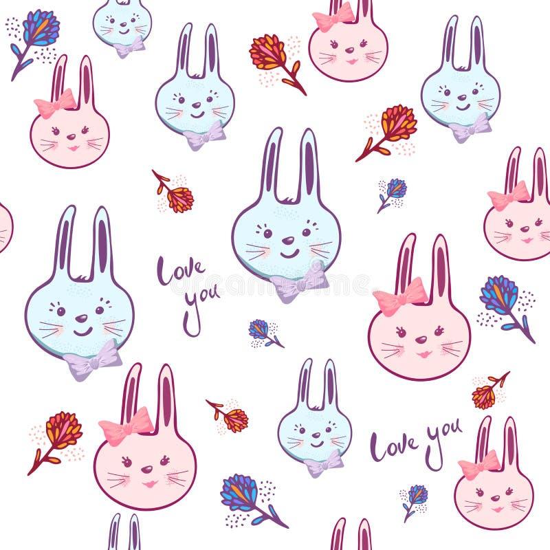 Bezszwowy wzór z śliczną królik dziewczynką, chłopiec, kwitnie Nakreślenie wektoru ilustracja Śliczny kreskówki tło dla dzieciakó ilustracja wektor