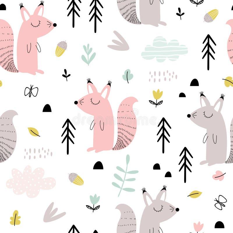 Bezszwowy wzór z śliczną wiewiórką royalty ilustracja