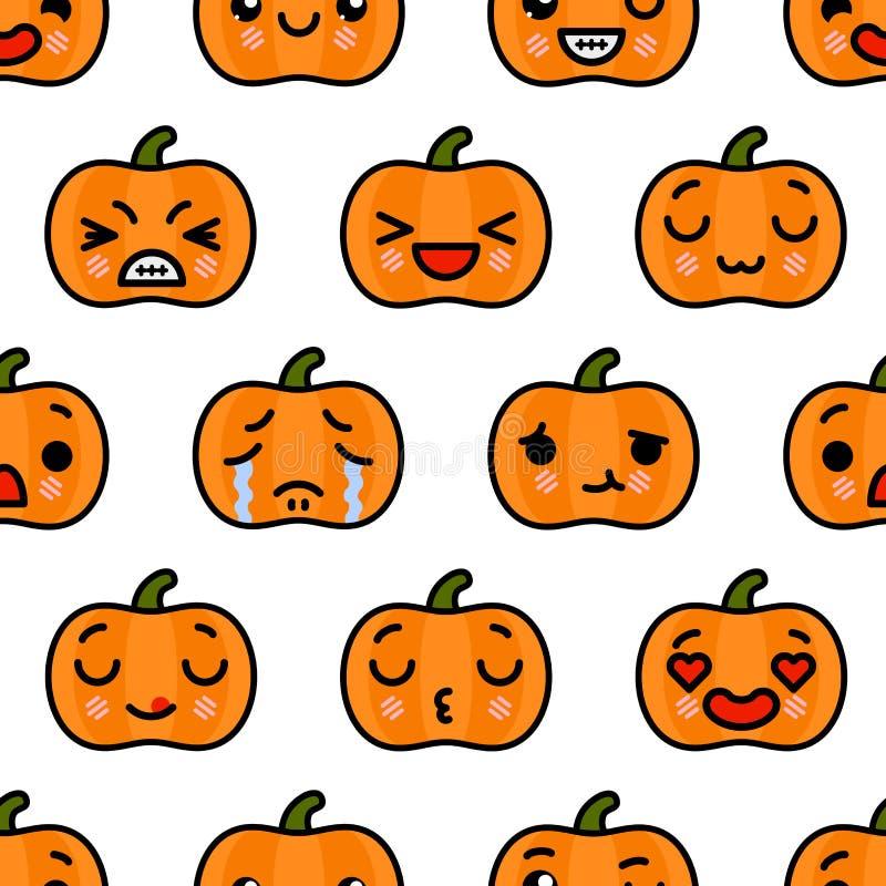Bezszwowy wzór z ślicznego kawaii emoji kreskówki Halloweenową Dyniową wektorową ilustracją ilustracja wektor