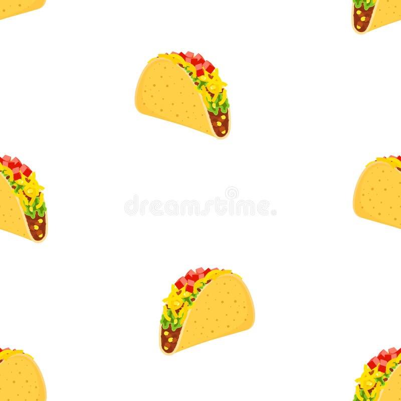 Bezszwowy wzór z ślicznej kreskówki fasta food meksykańskimi charakterami odizolowywającymi na fastfood z wołowiną i kurczaku bia ilustracja wektor