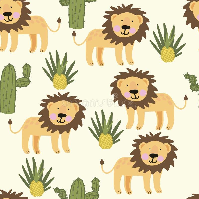 Bezszwowy wzór z ślicznym żółtym lwem fotografia royalty free