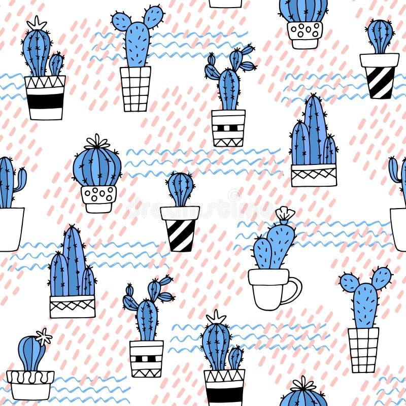 Bezszwowy wzór z ślicznym kaktusem i ręki rysować teksturami Doskonalić dla tkaniny, tkanina Wektorowy tło royalty ilustracja