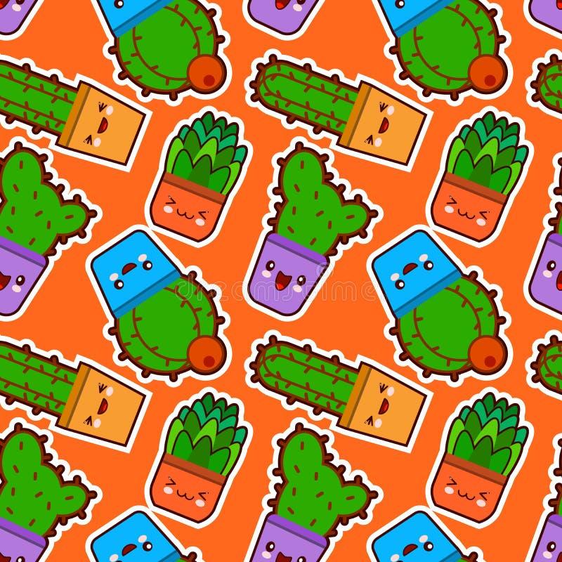 Bezszwowy wzór z ślicznym kawaii kaktusem, sukulentami z śmiesznymi twarzami w garnkach i Pomarańczowy tło Płaski projekt, wektor ilustracji