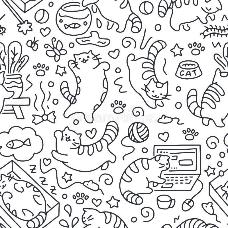 Bezszwowy wzór z ślicznym kota kreskowym rysunkiem Figlarnie figlarki tło, kota dosypianie w pudełku, sztuka z komputerem royalty ilustracja