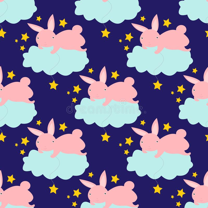 Bezszwowy wzór z ślicznym królikiem na obłocznym łapaniu gra główna rolę ilustracji