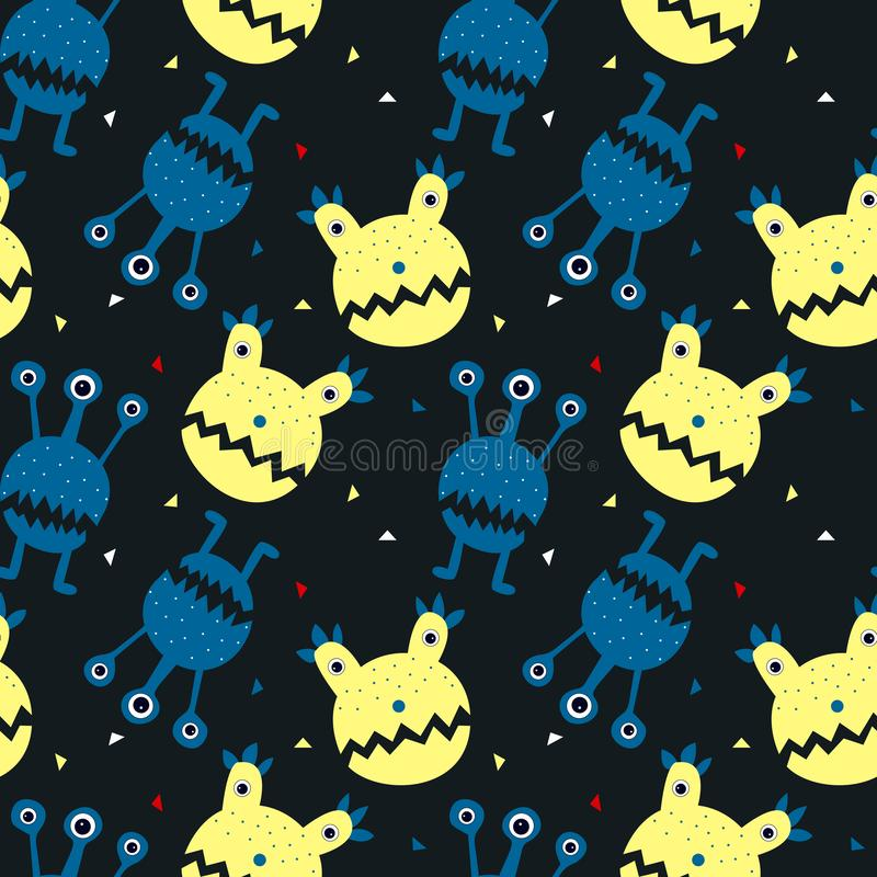 Bezszwowy wzór z ślicznym kreskówka potworem, gwiazdy i księżyc Nowo?ytny p?aski projekt ilustracja wektor