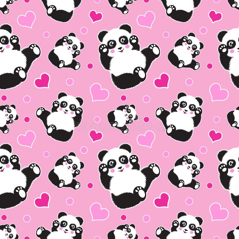 Bezszwowy wzór z ślicznym panda niedźwiedziem, sercami i Śmieszny dziecka tło, druk, prezenta opakunek royalty ilustracja