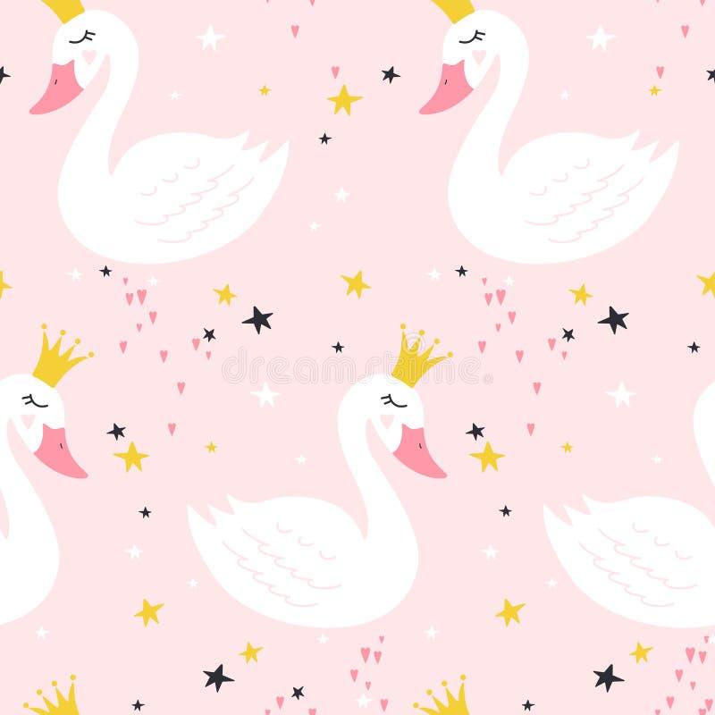 Bezszwowy wzór z ślicznym princess łabędź na różowym tle ilustracji