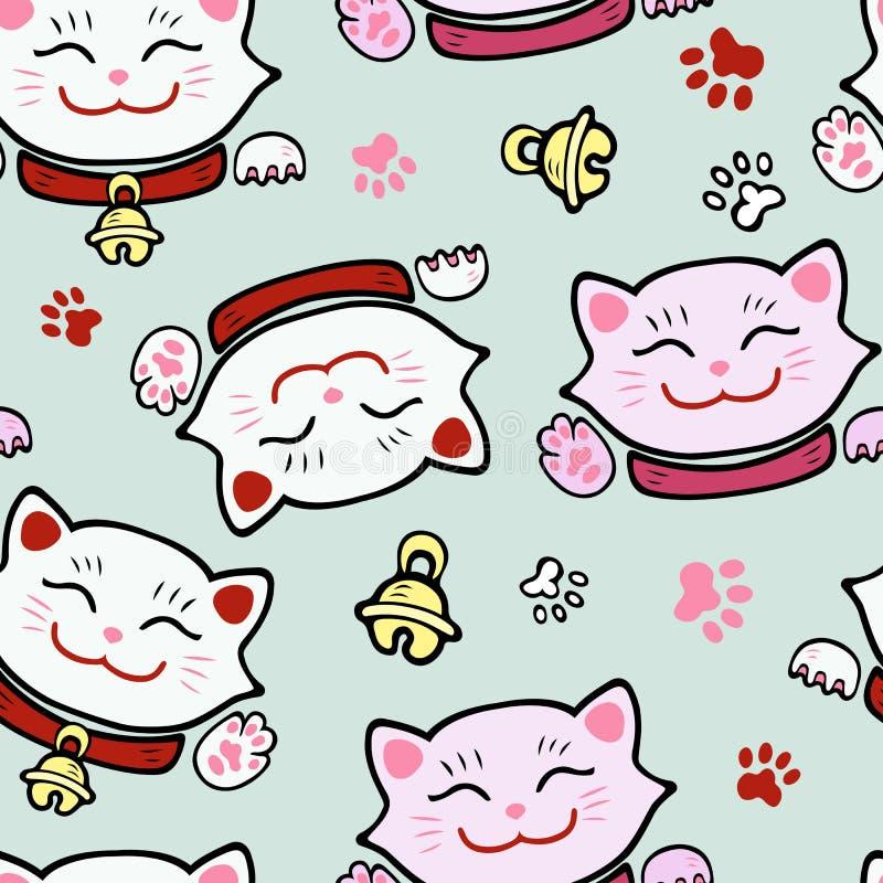 Bezszwowy wzór z ślicznym uśmiechniętym kotem ilustracji