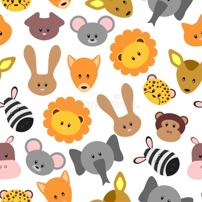Bezszwowy wzór z ślicznym zwierzęciem domowym i dzikimi kreskówek zwierzętami royalty ilustracja