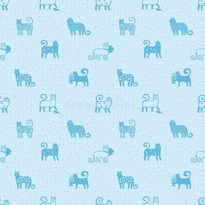 Bezszwowy wzór z ślicznymi śmiesznymi kotami Tekstylny kota wzór śmieszni tło koty Monochromatyczny tkanina wzór Koty ilustracja wektor