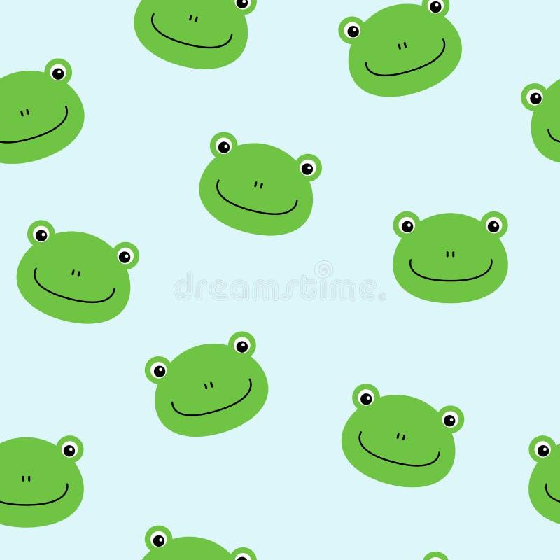Bezszwowy wzór z ślicznymi żabami Wektorowy tło dla dzieciaków ilustracji