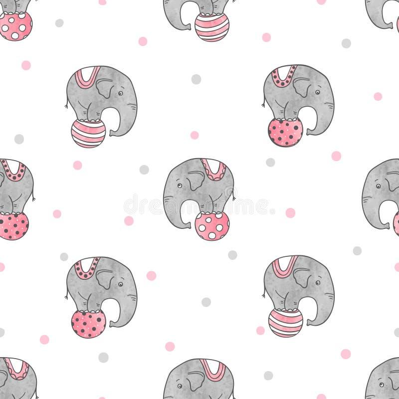 Bezszwowy wzór z ślicznymi akwarela cyrka słoniami ilustracja wektor